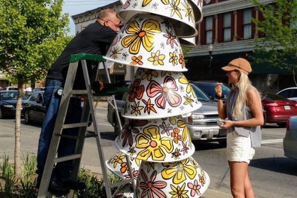 One of the pieces in Flower Gardens Art in Bloom, the city of Nappanee's newest public art exhibition for summer 2018.