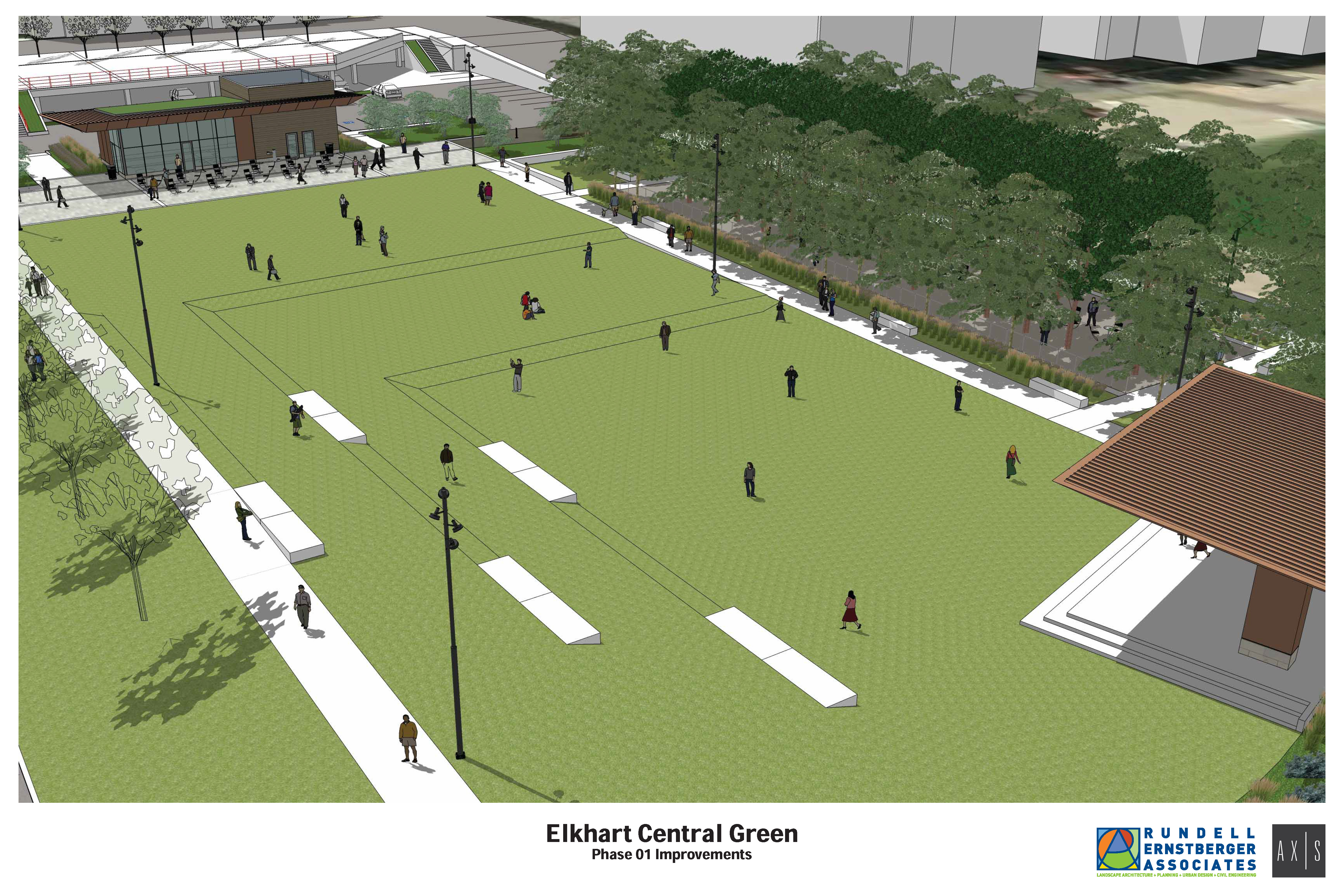 Stage, cafe highlight proposed improvements to Elkhart's Central Park